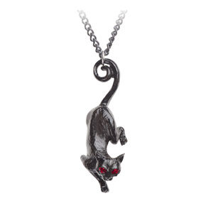 Legends Jewelry - Black Cat Necklace Pendant Pewter Crystal Gothic